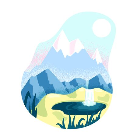 Wild nature landscape with mountain, waterfall and lake, flat vector illustration on white background. Travel outdoor concept. Northern natural landscape. Mountaineering hiking or trekking adventure Illustration