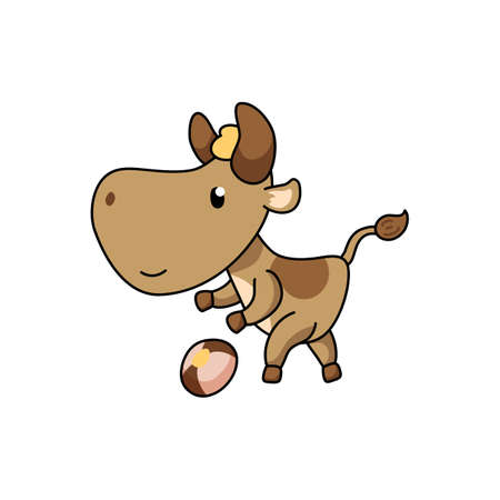 Cute ox character playing football. 2021 Year Lunar Zodiac Animal. Chinese New Year of Ox. Cow vector illustration on white background. Friendly bull mascot. Domestic farm animal icon. Soccer animal