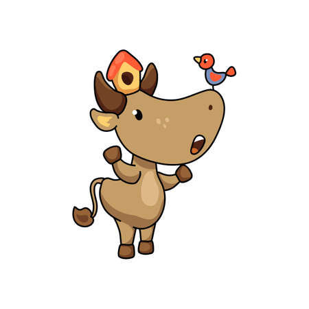Cute ox character with birdhouse and bird. 2021 Year Lunar Zodiac Animal. Chinese New Year of Ox. Funny cow vector illustration on white background. Friendly bull mascot. Domestic farm animal icon Иллюстрация