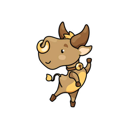 Cute cow cartoon character jump. 2021 Year Lunar Zodiac Animal. Chinese New Year of Ox. Cow vector illustration on white background. Friendly bull mascot. Domestic farm animal icon. Joyful ox sticker