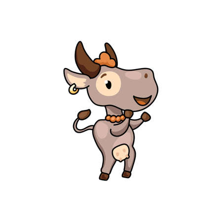 Cute cow cartoon character dance. 2021 Year Lunar Zodiac Animal. Chinese New Year of Ox. Cow vector illustration on white background. Friendly bull mascot. Domestic farm animal icon. Joyful ox sticker Иллюстрация