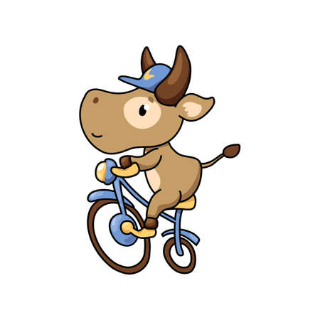 Cute cow ride bicycle. Summer sport animal. 2021 Year Lunar Zodiac Animal. Chinese New Year of Ox. Cow vector illustration on white background. Friendly bull mascot. Domestic farm animal icon