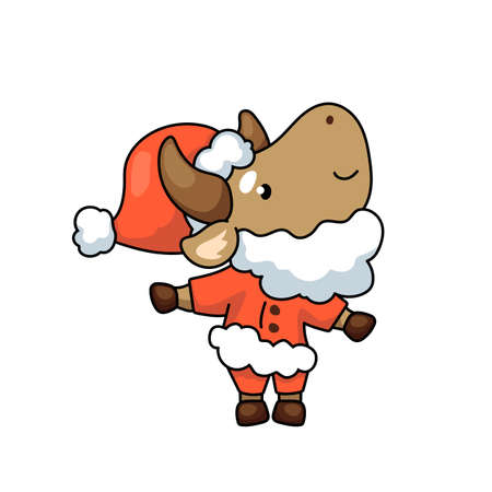 Cute ox cartoon character as Santa Claus. 2021 Year Lunar Zodiac Animal. Chinese New Year of Ox. Cow vector illustration on white background. Friendly bull mascot. Santa Claus ox. Christmas sticker