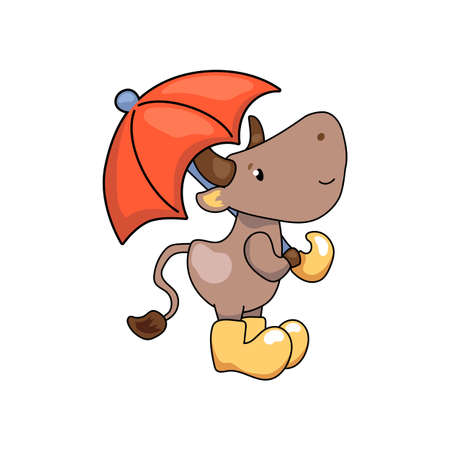 Cute ox cartoon character with umbrella. Cow vector illustration on white background. Friendly bull mascot. 2021 Year Lunar Zodiac Animal. Chinese New Year of Ox. Friendly domestic or farm animal icon Иллюстрация