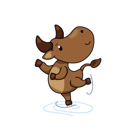 Cute ox cartoon character skating. Cow vector illustration on white background. Friendly bull mascot. 2021 Year Lunar Zodiac Animal. Chinese New Year of Ox. Farm animal doing winter sport. Cow icon