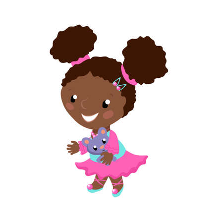 Smiling African girl in pink dress vector illustration on white background. African american toddler with plush doll. Smiling girl in ballet dress for children activity class. Preschool age child Иллюстрация