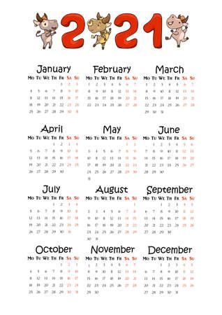 2021 Year Vertical calendar on A4 paper format. Cute ox lunar zodiac animal character. Children room calendar with cartoon cows. 2021 calendar template. Informal planner whole year by months