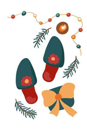Merry Christmas and New Year greeting card vector template. Home shoes and present contemporary illustration. Silent Christmas calling card. Winter holiday poster with no text