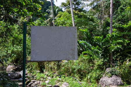 Blank signpost in green forest. Empty sign on metallic pillar in tropical rainforest. Hiking in jungle forest banner template. Forbidden sign in natural environment. Lodge signpost mockup in garden