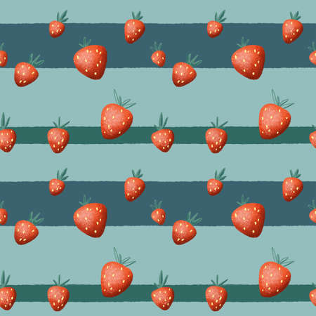 Red strawberries seamless pattern on blue striped background. Juicy Strawberry pattern for kitchen decor, homemade jam package, fabric print, kids wallpaper. Summer strawberry repeatable pattern tile Banque d'images