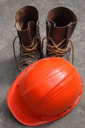 hard: Work Boots and Hard Hat