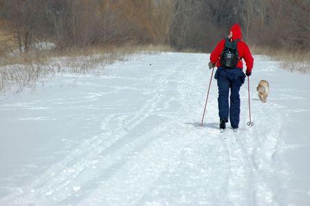 cross country: Cross Country esquiador y su perro