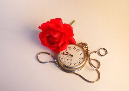Red Rose and a Pocket Watch photo