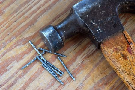 Claw Hammer and Finishing Nails Stock Photo - 6692700