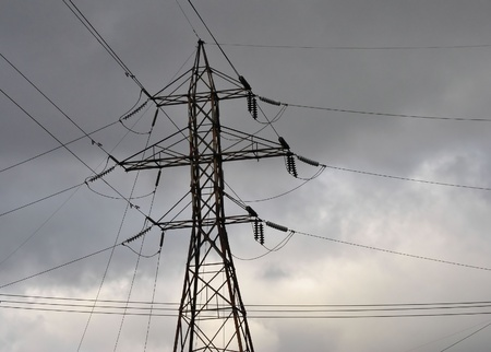 kracht: Power transmissielijnen Stockfoto