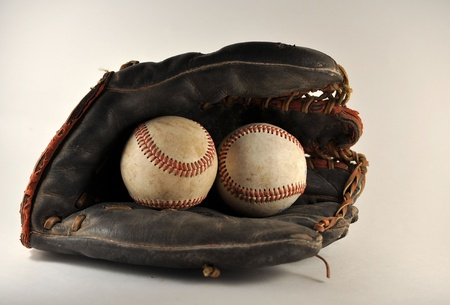 equipment: Old Baseball Glove With Baseballs