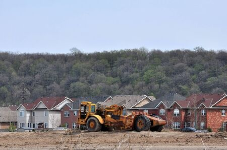 Earth Mover at a New Subdivision Stock Photo