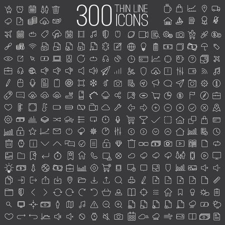 300 dünne Linie universelle Symbole der Finanzen festgelegt, Marketing, Einkaufen, Wetter, Internet, Benutzeroberfläche, Navigation, Medien, auf dunklem Hintergrund Standard-Bild - 65778316
