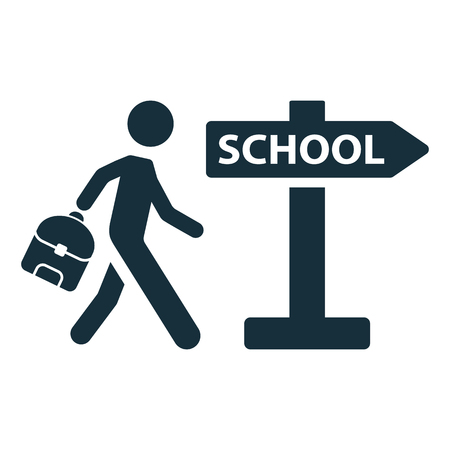 pupil: schoolboy pupil going to school signpost icon on white background