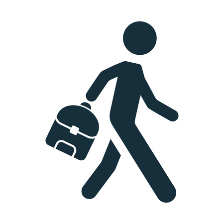 pupil: pupil student schoolboy with backpack icon on white background
