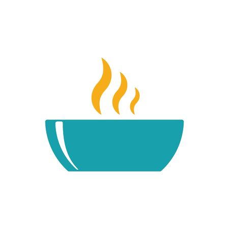 hot plate: bowl hot plate soup icon on white background