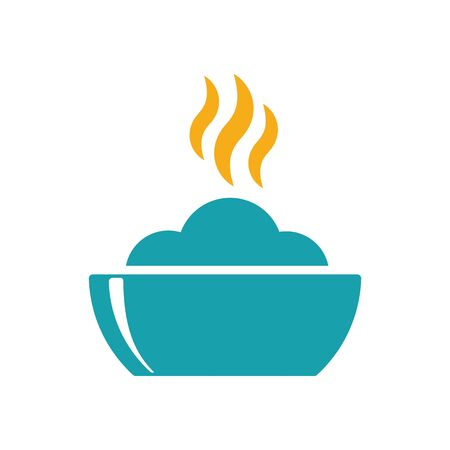 hot plate: bowl hot plate with food icon on white background Illustration
