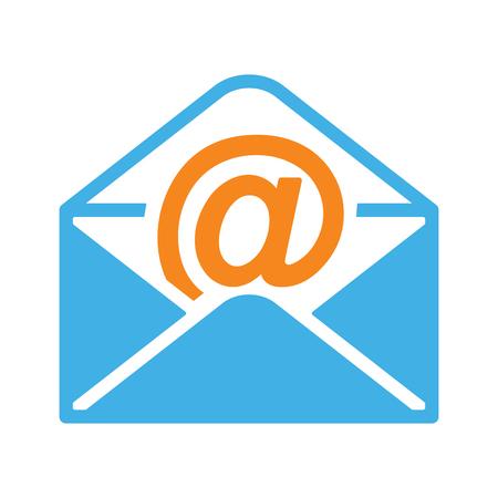 白い背景の上の封筒アイコン透明フラット オープン メール  イラスト・ベクター素材
