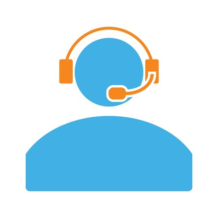 contact center: contact headphones call center icon on white background