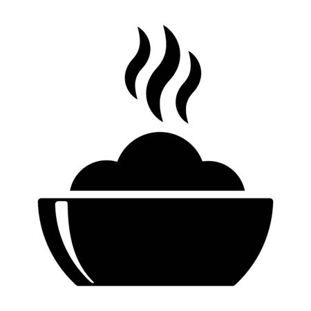 hot plate: bowl hot plate with food black icon on white background Illustration