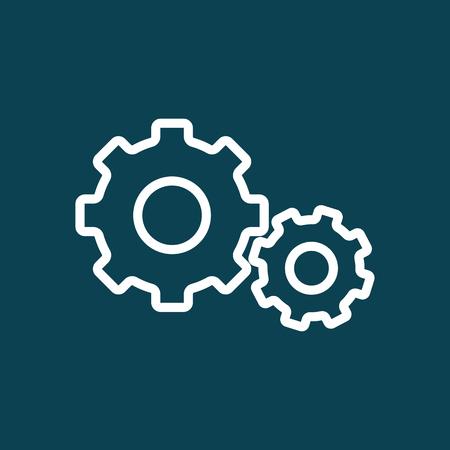 mechanism of progress: thin line settings gear icon on blue background