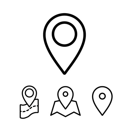 thin line google map, search, pin point, location icon on white background