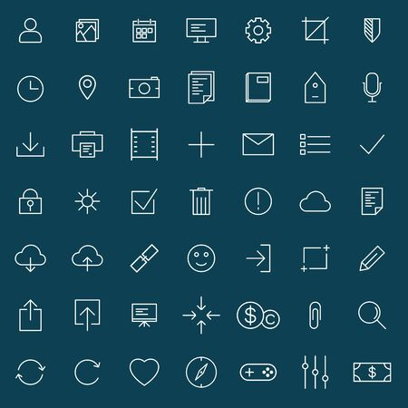 internet user: thin line universal icons set  of finance, marketing, shopping, internet, user interface, navigation, media,  on blue background Illustration
