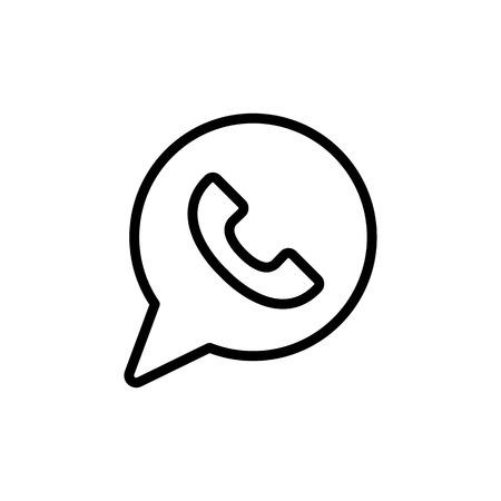 thin line whatsapp icon on white background