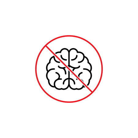 thin line dont use brain humor sign on white background Illustration
