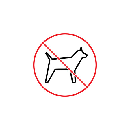 Thin line aucun signe d & # 39 ; interdiction de chiens sur fond blanc Banque d'images - 85100199