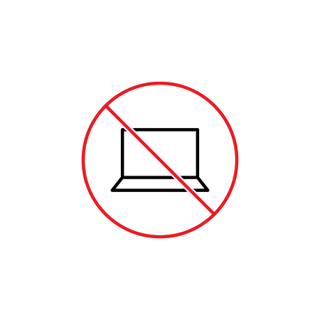 restricted area sign: Thin line no laptop sign Illustration