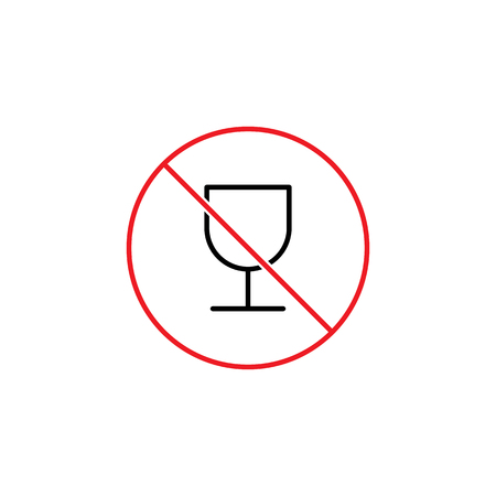 Glass of wine prohibition sign.