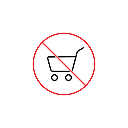 Do not use shopping cart sign on white background Vectores