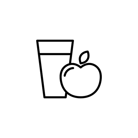 Thin line apple juice icon on white background