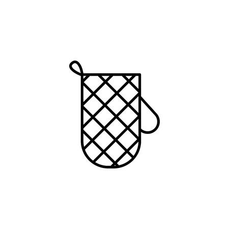 Kitchen glove thin line icon on white background
