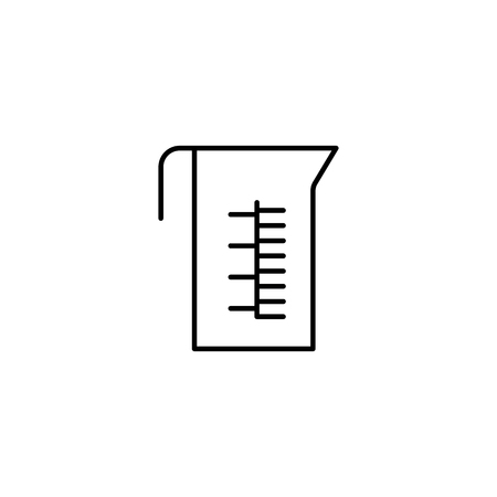 measuring cup thin line icon on white background