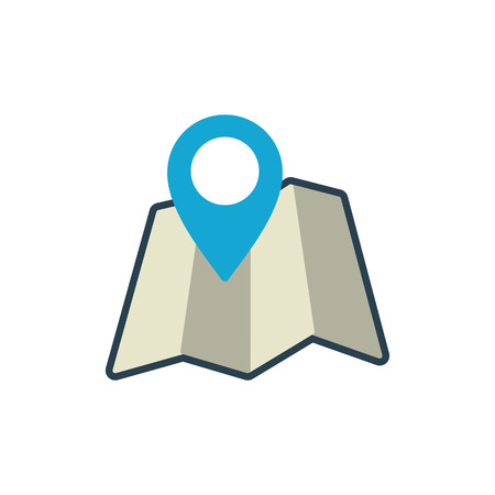 flat map with pin location icon on white background