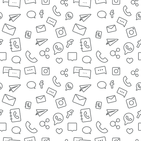 Seamless sosial life icons pattern grey on white background