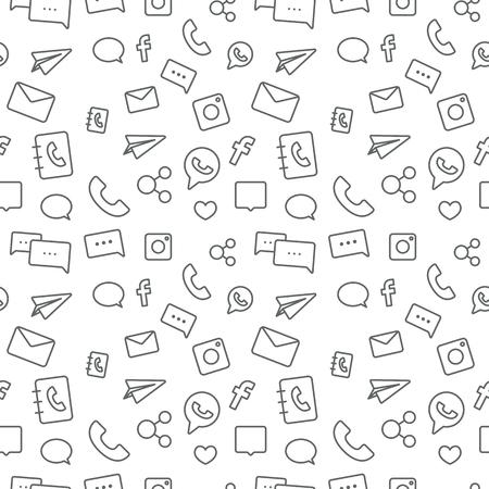 Seamless sosial life icons pattern grey on white background Illustration