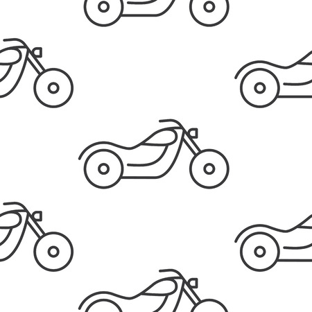 Seamless motorcycle icons pattern grey vector on white background