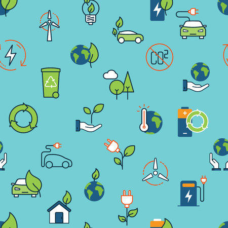 Seamless color ecology icons pattern on blue background