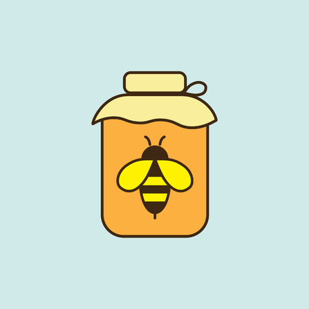 flat honey jar with bee color icon on blue background Illustration