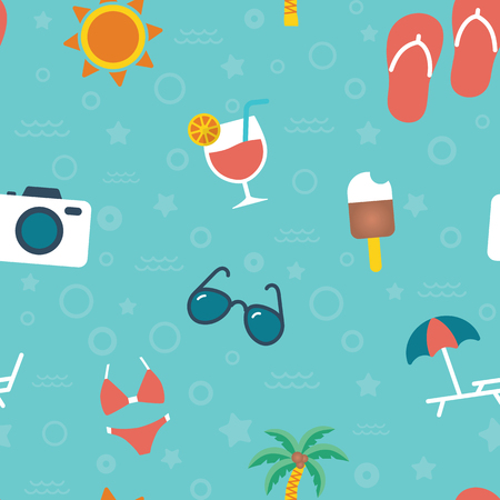 Seamless summer vacation color icons pattern vector on blue background Stock Illustratie