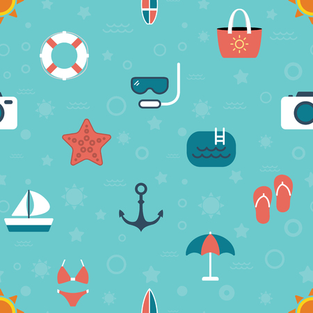Seamless summer beach color icons pattern vector on blue background Illustration