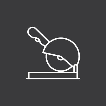 thin line circular saw icon on dark background Illustration